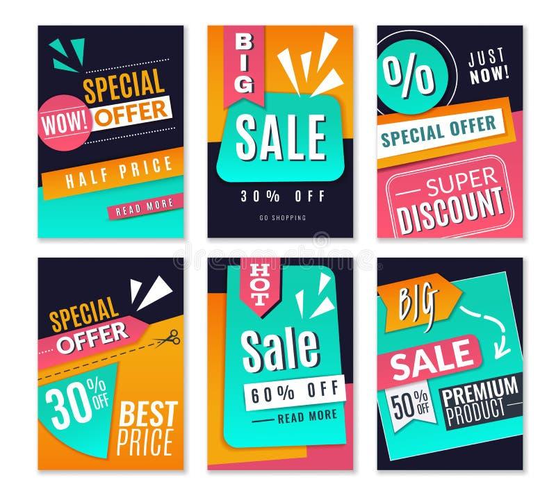 Dyskontowi plakaty Promocyjnej mody marketingowi tła, sprzedaży reklamy oferty ulotki Online gazetka wektor ilustracja wektor