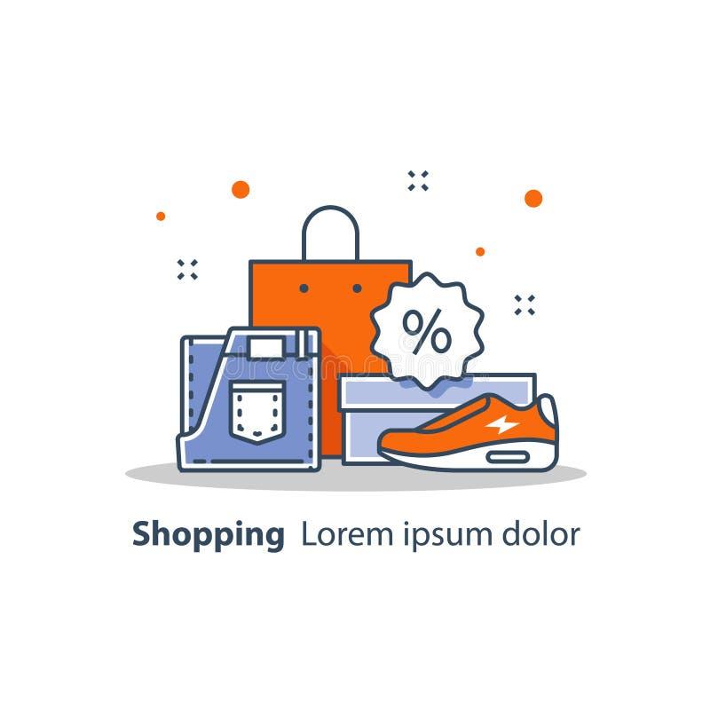 Dyskontowy sklep, specjalna oferta, sklepowy sprzedaży zawiadomienie, reklama, promocja, ubrania i buty, royalty ilustracja