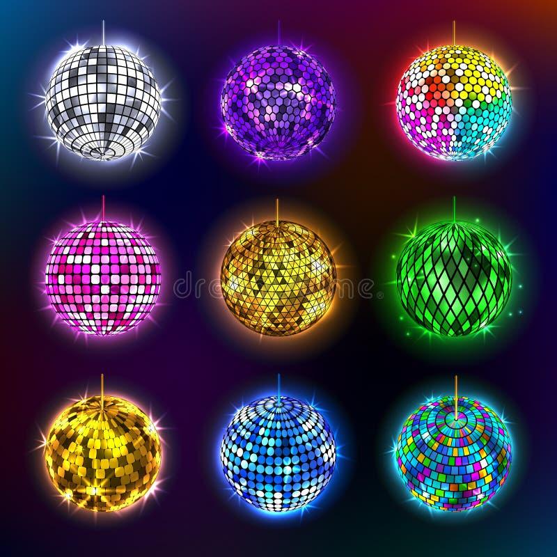Dyskotek piłek wektorowa ilustracja discotheque tana i muzyki partyjnego wyposażenia round błyszcząca rozrywka royalty ilustracja