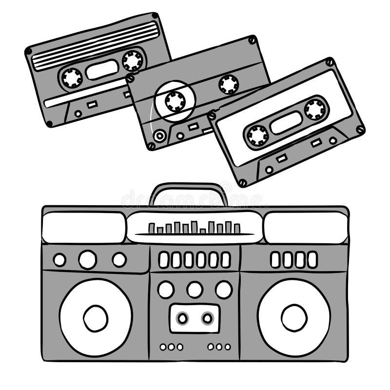 1980 dyskoteka Dokumentacyjny gracz i audio kasety ilustracja wektor