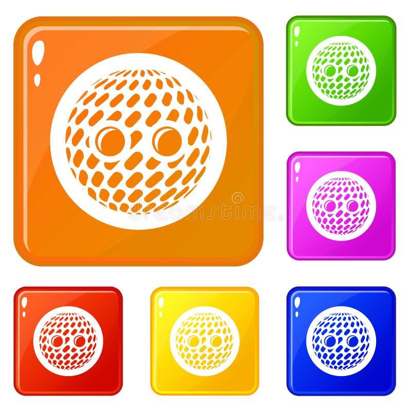 Dyskoteka guzika ikona ustawiający wektorowy kolor ilustracji