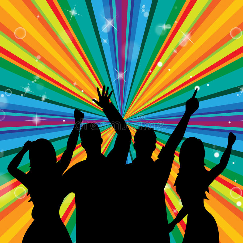Dyskoteka taniec Wskazuje Discotheque radość I Bawi się ilustracji