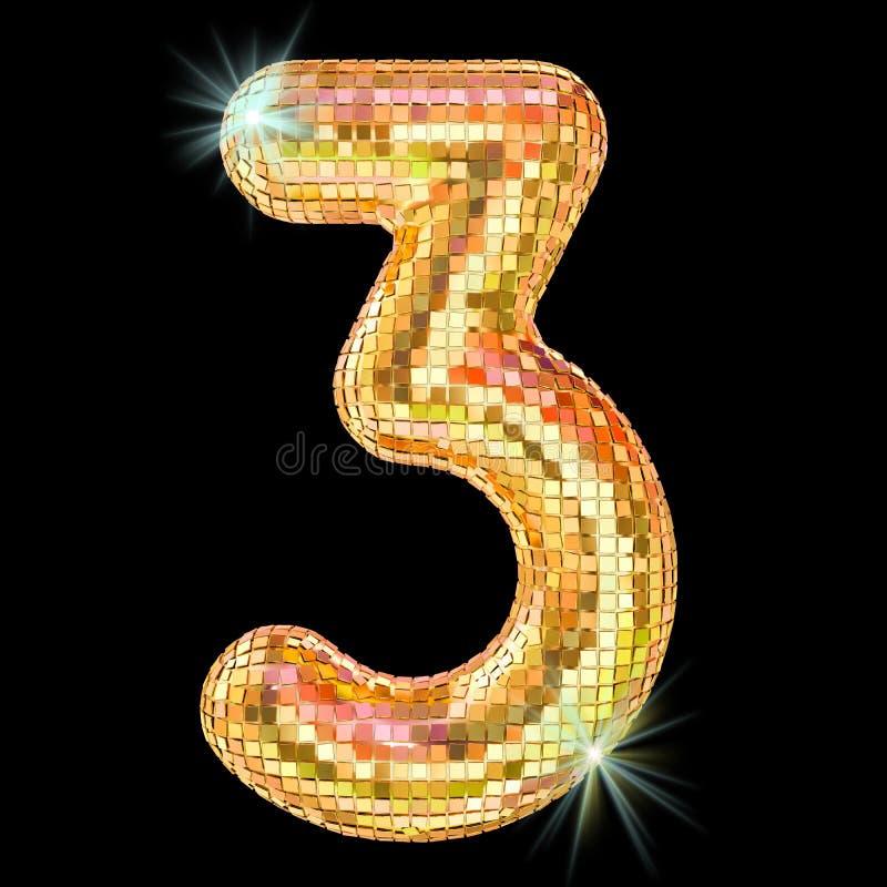 Dyskoteki chrzcielnica, liczy 3 od złotych błyskotliwości lustra faset ?wiadczenia 3 d ilustracji
