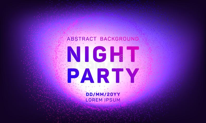 Dyskoteki nocy przyjęcia wektorowy szablon z latających cząsteczek tłem dla muzycznych wydarzenie ulotek, plakaty ilustracji