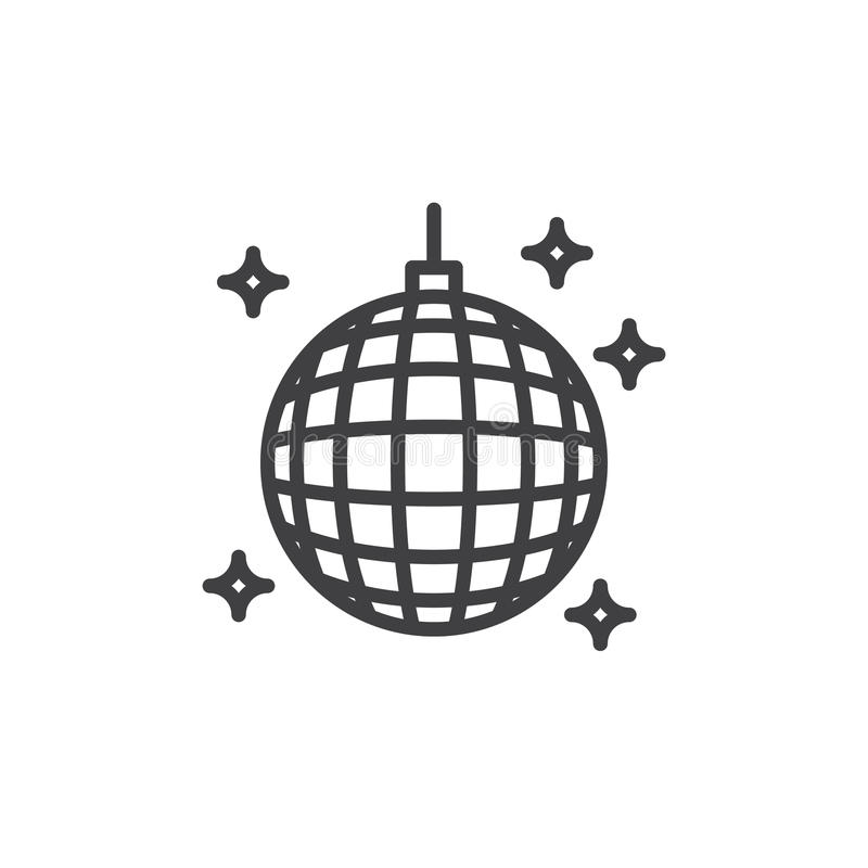 Dyskoteki piłki linii ikona, konturu wektoru znak, liniowy stylowy piktogram odizolowywający na bielu ilustracji