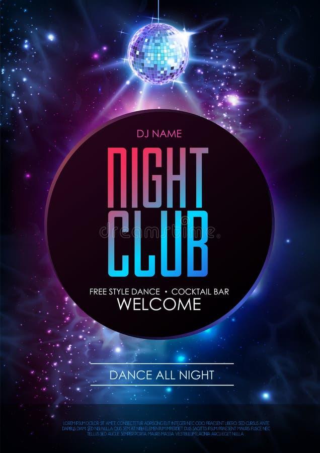 Dyskoteki piłki tło Dyskoteki nocy klubu przyjęcia plakat na otwartej przestrzeni tle royalty ilustracja