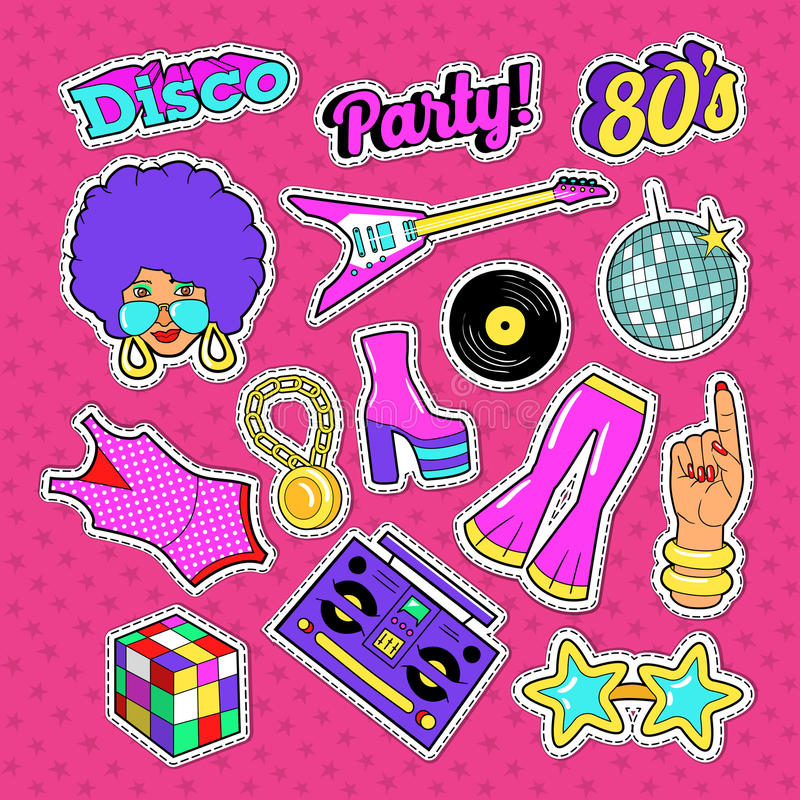 Dyskoteki przyjęcia Doodle Muzyczna moda Ustawiająca z kobietą, gitarą i Modnymi elementami, Majchery, odznaka i łata, royalty ilustracja