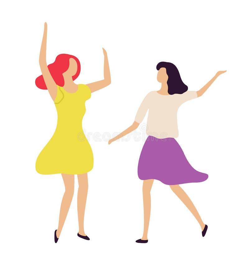 Dyskoteki przyjęcia kobiety, nocy Clubbers życie wektor ilustracji