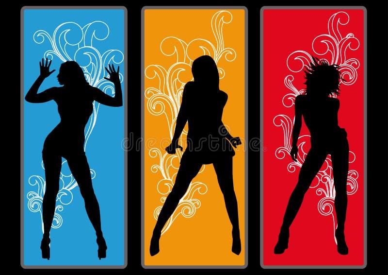dyskoteki ulotki dziewczyn partyjny plakat royalty ilustracja