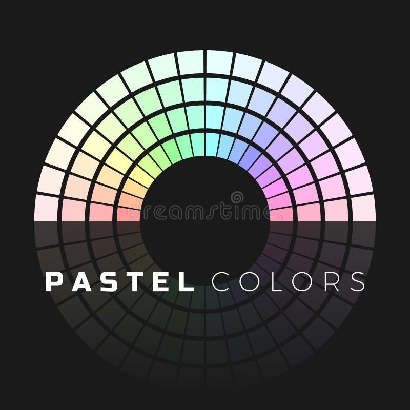 Dyskretny set pastelowi cienie P??kole koloru paleta Pastelowego koloru widmo Wektorowa ilustracja odizolowywaj?ca na ciemnym tle ilustracja wektor