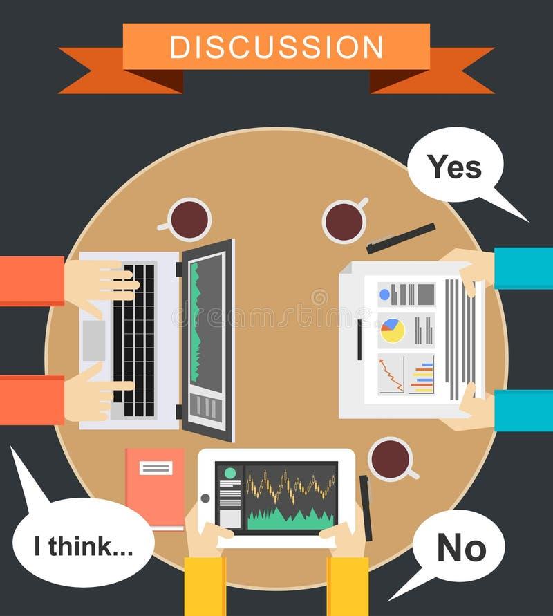 Dyskusi pojęcia ilustracja Spotkania pojęcia ilustracja Płaski projekt Brainstorming pojęcia ilustracja Definiuje wniosek ilustracji