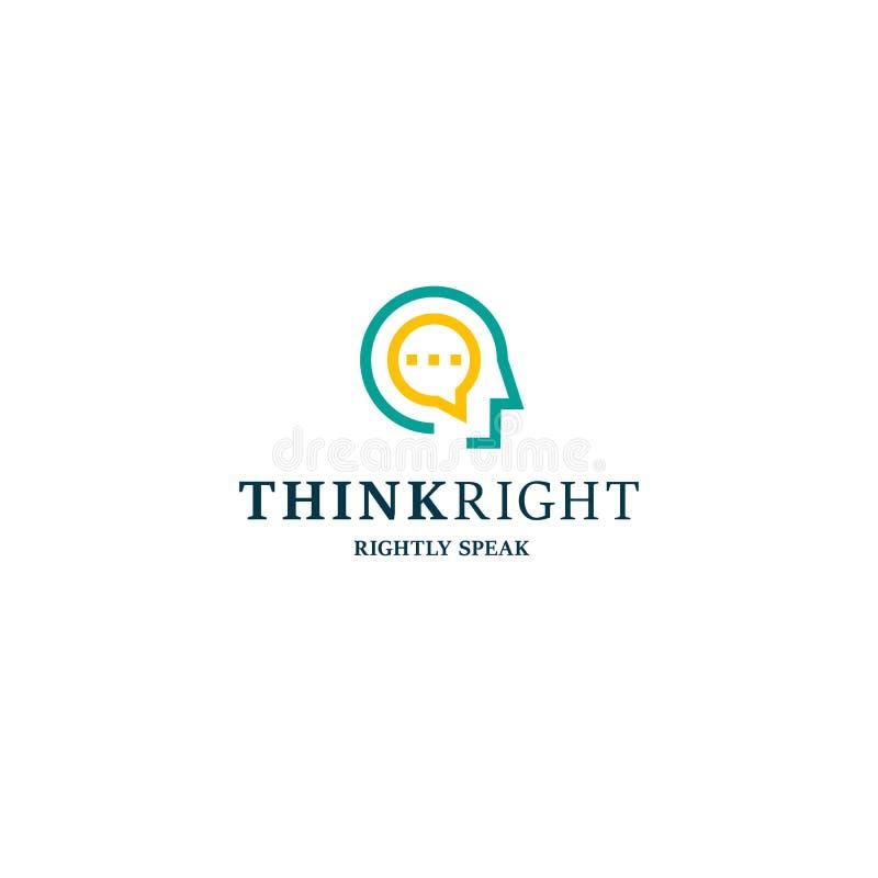 Dyskusja Świetlicowy wektorowy niezwykły logo Ludzie przewodzą liniową stylową myśli dobra sloganu ilustrację royalty ilustracja