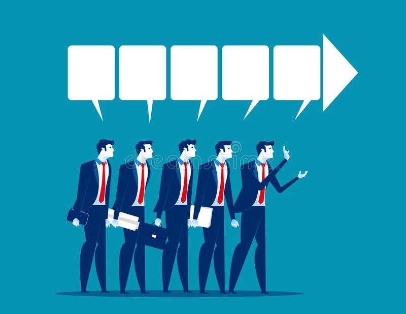 dyskusja Biznesmena drużynowy opowiadać sukces Biznesowy wektor royalty ilustracja
