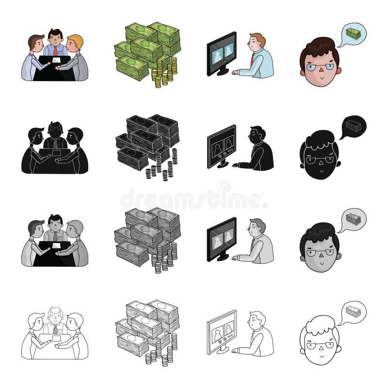 Dyskusja biznesmeni, pieniądze, wideokonferencja, biznesowy pomysł Biznesowej konferenci ustalone inkasowe ikony w kreskówce royalty ilustracja