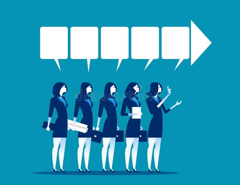 dyskusja Bizneswomanu drużynowy opowiadać sukces Biznesowy vect royalty ilustracja