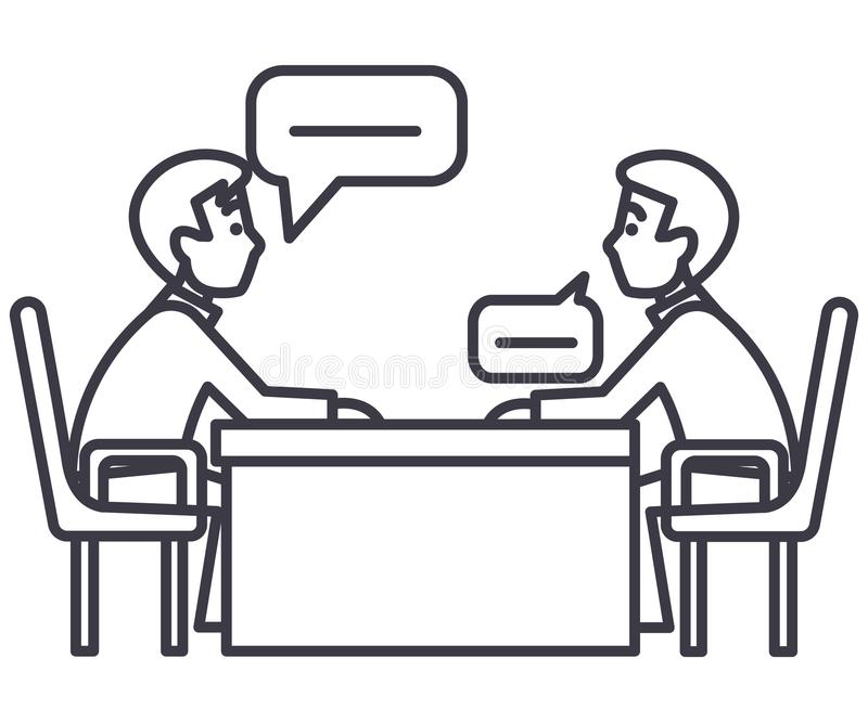Dyskusja dwa partnera, wywiad, indagacja, egzaminacyjna wektor linii ikona, znak, ilustracja na tle royalty ilustracja