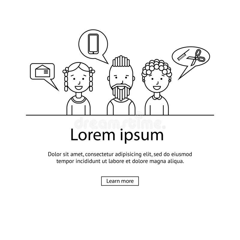 Dyskusja i komunikacja między ludźmi ilustracji
