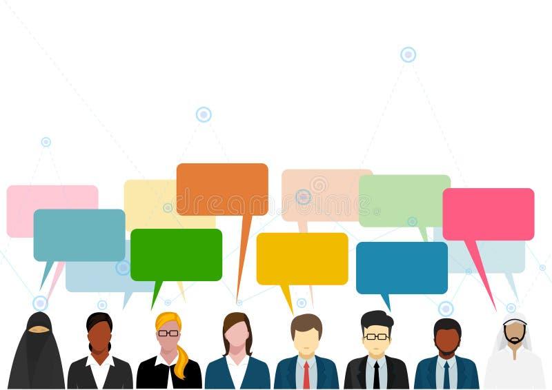 Dyskusja i komunikacja między ludźmi na biznesie royalty ilustracja