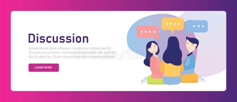 Dyskusja między przyjacielem lub coworkers mówi plotki Koledzy brainstorming wpólnie mieć rozmowy męskiej kobiety ilustracji