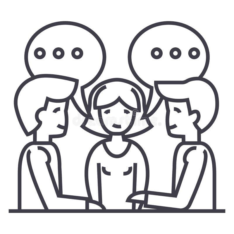 Dyskusja, negocjacja, traktatowa wektor linii ikona, znak, ilustracja na tle, editable uderzenia royalty ilustracja