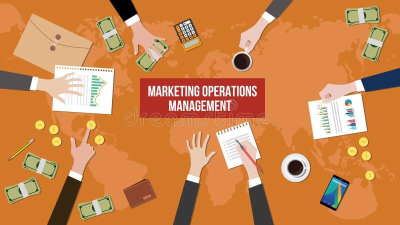 Dyskusja o marketingowym operaci zarządzaniu na spotkanie stołu ilustraci z papierkowymi robotami, pieniądze i dokumentem, royalty ilustracja