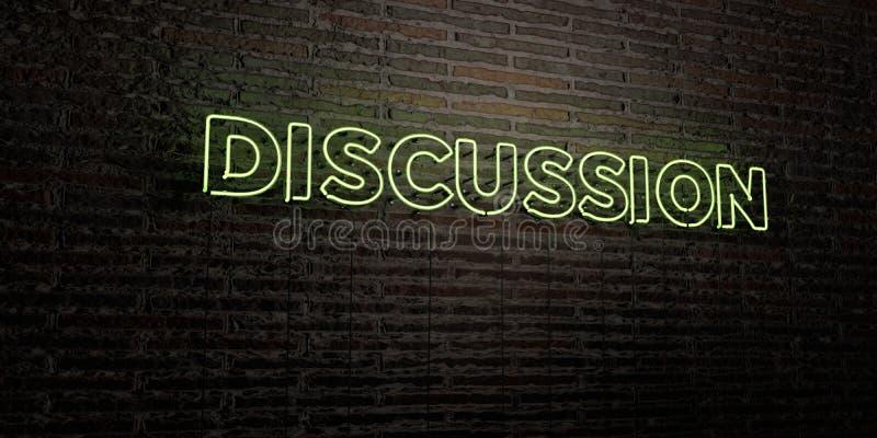 DYSKUSJA - Realistyczny Neonowy znak na ściana z cegieł tle - 3D odpłacający się królewskość bezpłatny akcyjny wizerunek ilustracji