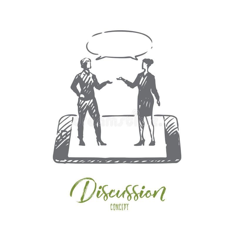 Dyskusja, rozmowa, rozmowa, dialog, osoby pojęcie Ręka rysujący odosobniony wektor ilustracja wektor