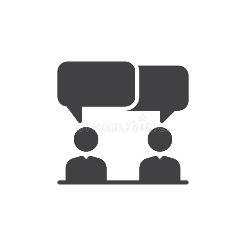 Dyskusja, spór ikony wektor, wypełniający mieszkanie znak, stały piktogram odizolowywający na bielu Symbol, logo ilustracja ilustracji