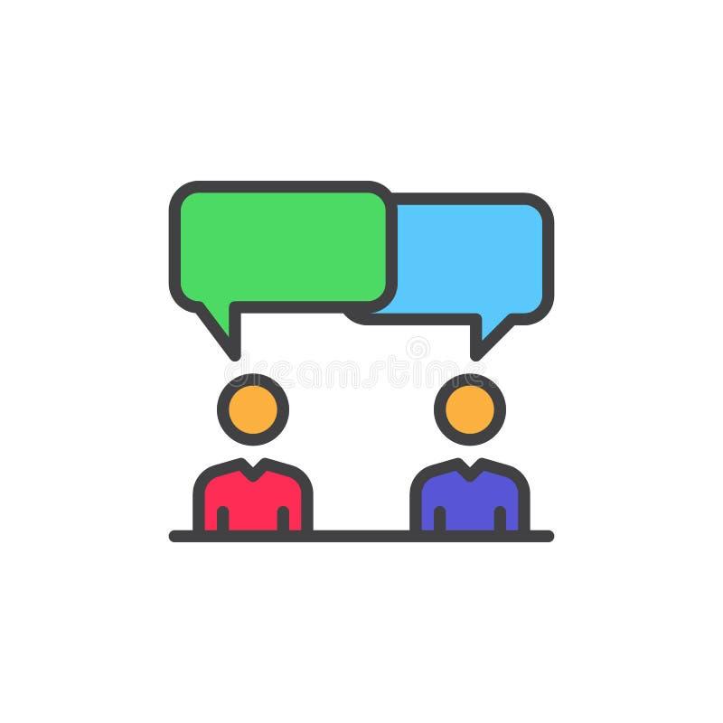 Dyskusja, spór wypełniająca kontur ikona, kolorowy wektoru znak ilustracja wektor