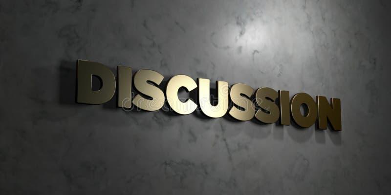 Dyskusja - Złocisty tekst na czarnym tle - 3D odpłacający się królewskość bezpłatny akcyjny obrazek royalty ilustracja
