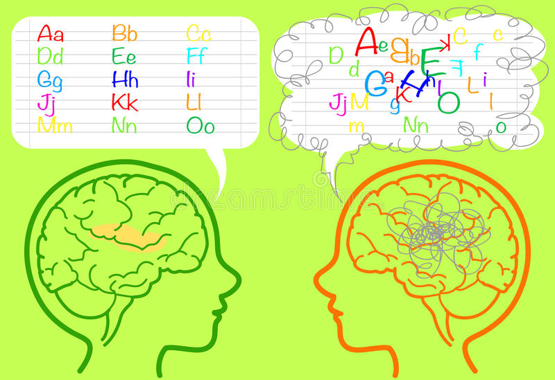 Dyslexia brain. The brain of a dyslexic boy is puzzled and confused about letters. Vector illustration vector illustration