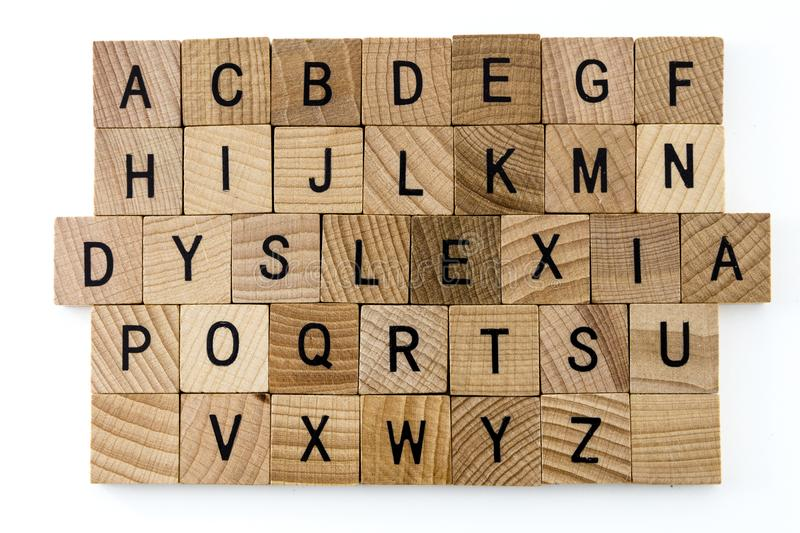 Dyslexia difficulty education alphabet stock images