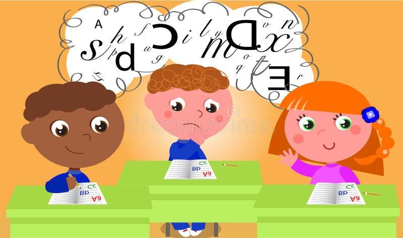 Dyslexia. Dyslexic boy in school class. Vector illustration vector illustration