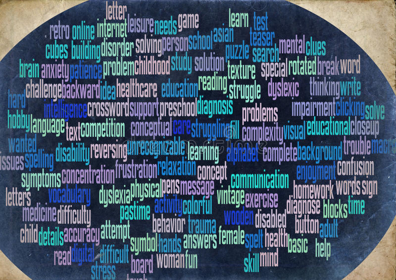 Dyslexia word cloud stock photography
