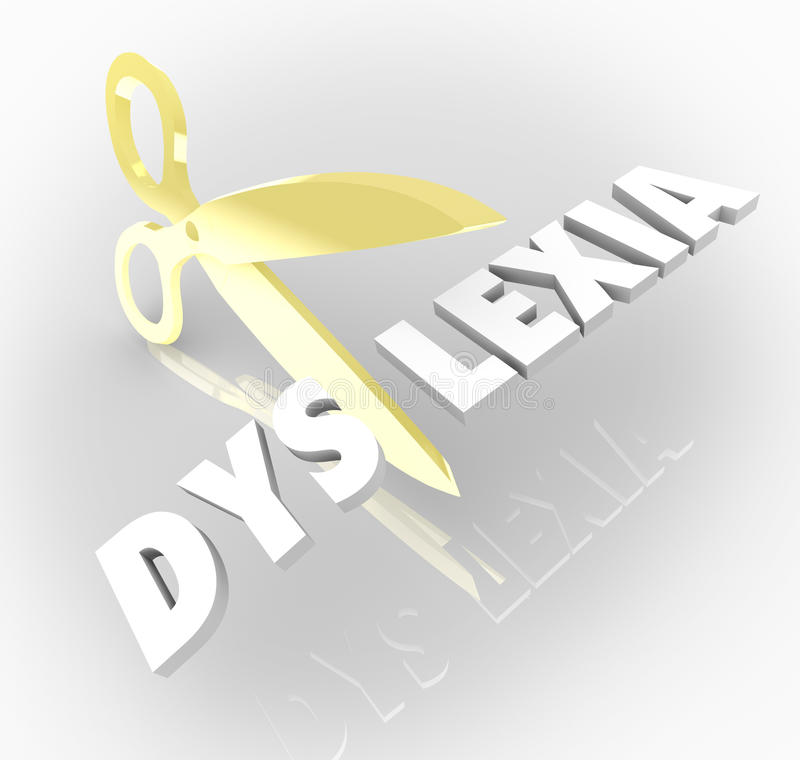 Dyslexia Words Scissors Cutting Reading Condition Disability. Dyslexia word in 3d letters cut by scissors to illustrate treating and curing the condition of royalty free illustration