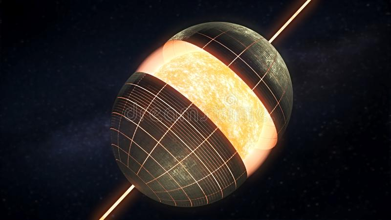 Dyson sfera - 3D rendering ilustracji
