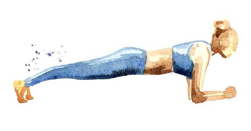 Dysponowana dziewczyna w deski pozycji Ćwiczy dla tylnego kręgosłupa i postury pojęcia pilates sprawności fizycznej sporta Akware ilustracji