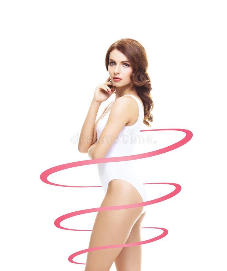 Dysponowana i nikła dziewczyna w swimsuit Perfect żeński kształt Medycyna, ciężar strata, gruby oparzenie i opieki zdrowotnej poj obraz royalty free
