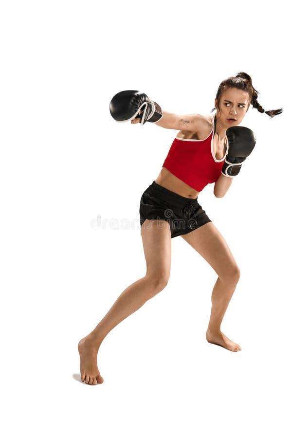Dysponowana piękna kobieta z bokserskimi rękawiczkami odizolowywać na białym tle zdjęcia royalty free