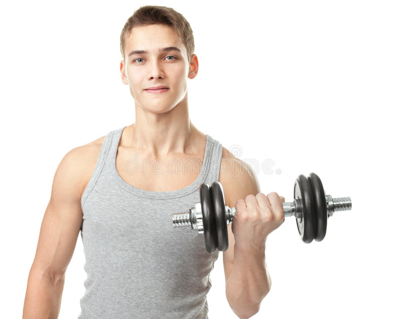 Dysponowany mężczyzna ćwiczy z dumbbells obraz stock