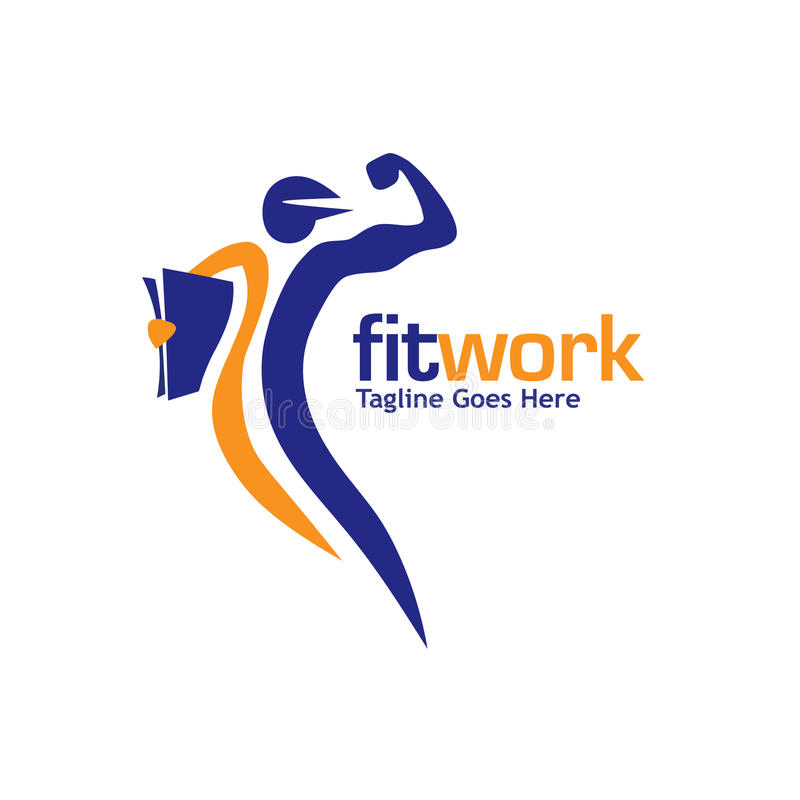 Dysponowany praca sport i sprawność fizyczna loga wektor ilustracji