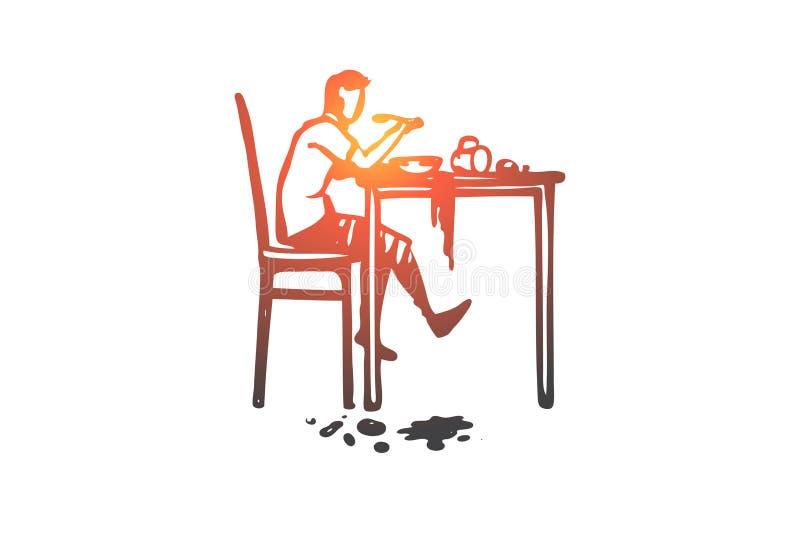 Dyspraxia, désordre, santé, mentale, concept d'enfant Vecteur d'isolement tiré par la main illustration de vecteur