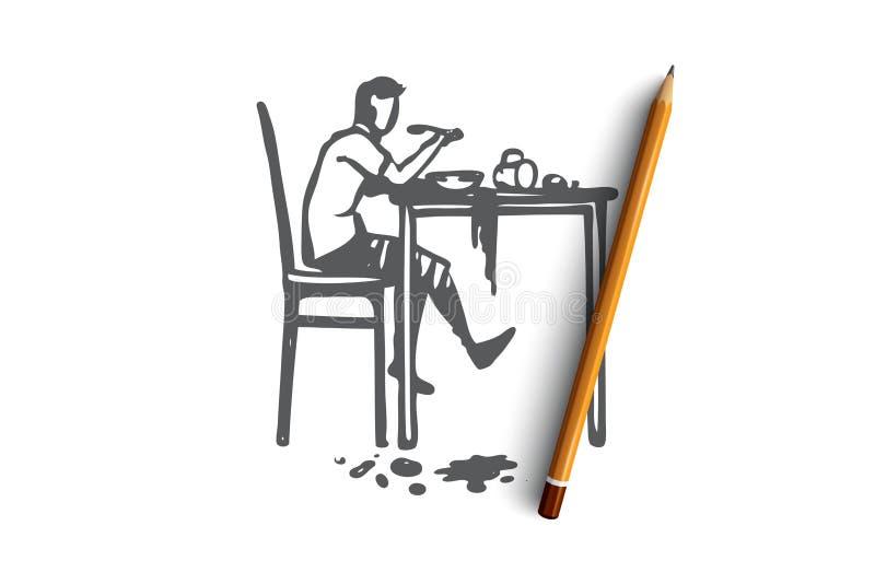 Dyspraxia, désordre, santé, mentale, concept d'enfant Vecteur d'isolement tiré par la main illustration stock