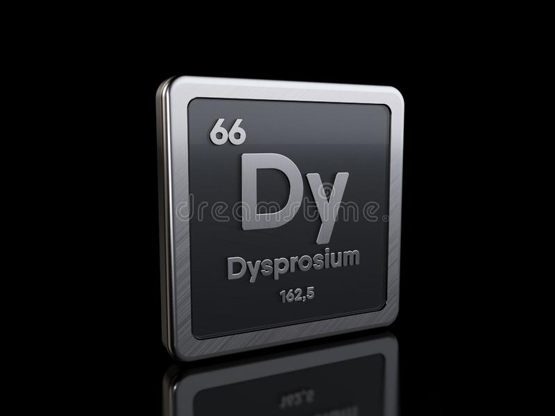 Dysprosium Dy, element symbol from periodic table series stock illustration