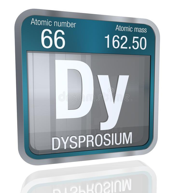 Dysprosium symbol in square shape with metallic border and transparent background with reflection on the floor. 3D render royalty free illustration