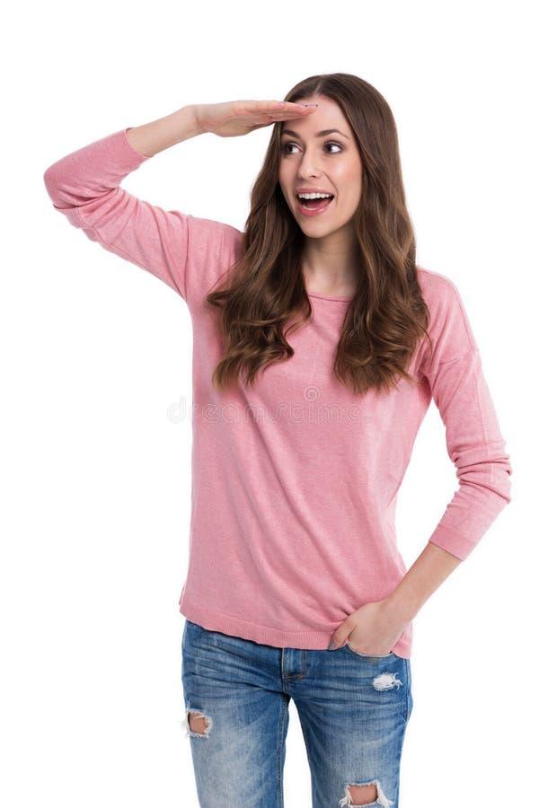dystansowej czoła ręki przyglądająca kobieta zdjęcia royalty free