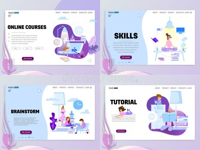 Dystansowy uczenie, umiejętności ulepszenie, biurowy brainstorming Homepage szablon dla strony internetowej lub lądowanie strony ilustracji