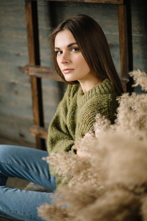 Dyster brunettflicka i en varm tröja i jeans och gymnastikskor som poserar i studio med dagsljus träbakgrund, stege fotografering för bildbyråer