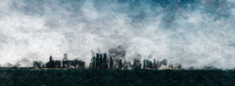 Dystopian ciemny miasto burzy abstrakt royalty ilustracja
