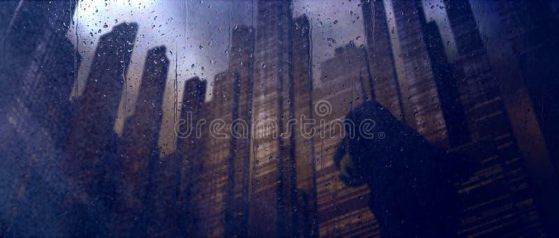Dystopian ciemny miasto deszcz royalty ilustracja